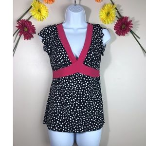 Wrapper medium Black and Pink Polka Dots Blouse